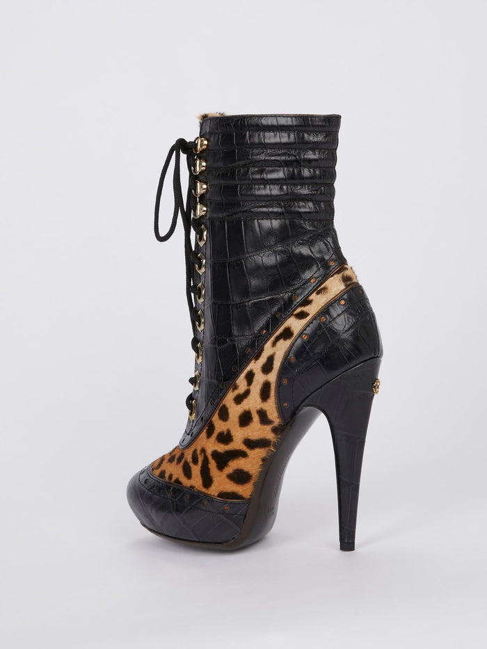 Leopard Print Lace Up Leather Boots