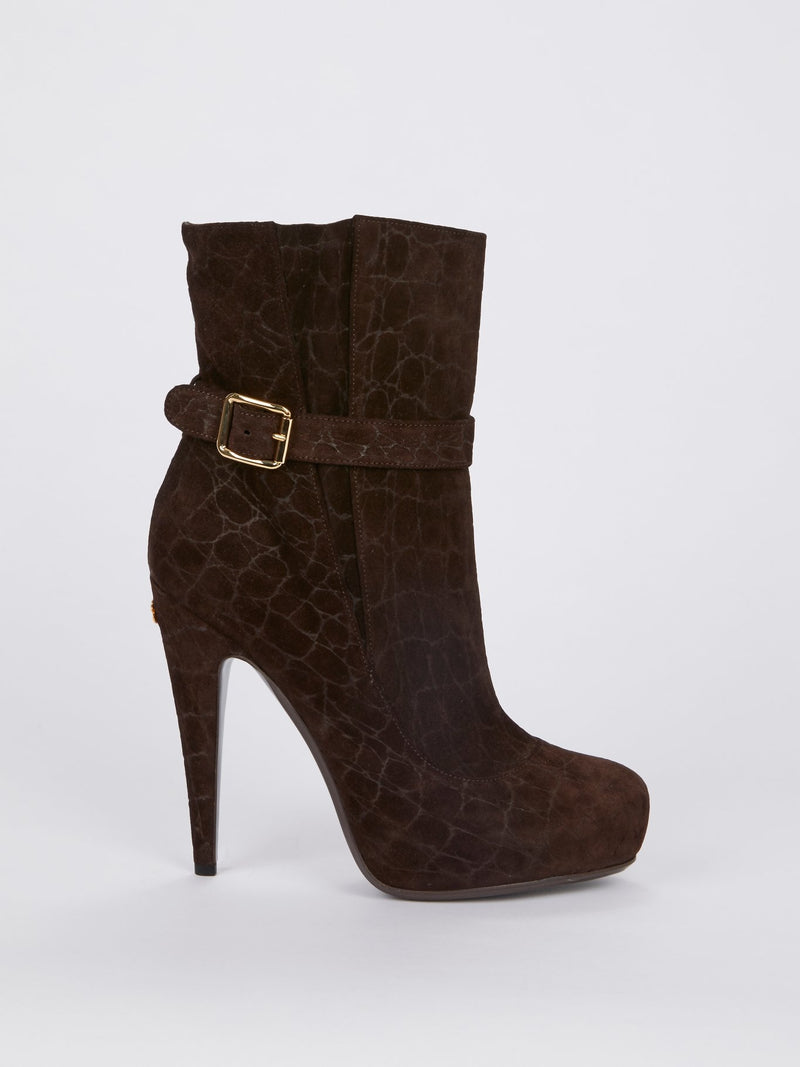 Crocodile Effect Suede Ankle Boots