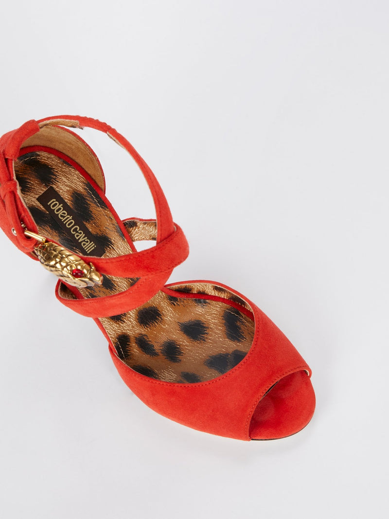 Orange with Leopard Panel Sandals