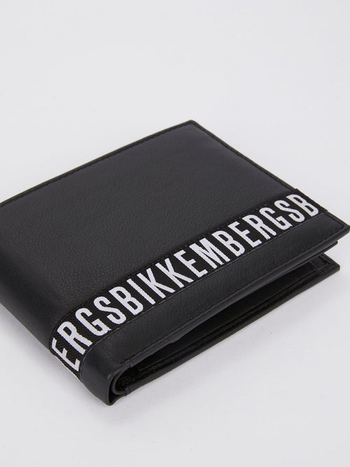 Crinkle Black Logo Leather Wallet (Billfold 7 C/C with Coin Pocket )