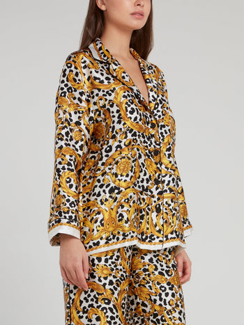 Baroque Leopard Print Silk Top