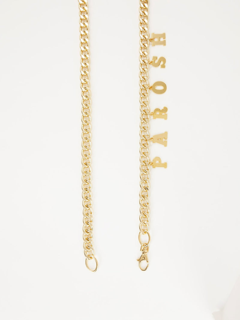 Gold Tone Logo Chain Belt