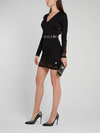 Black Logo Waist Lace Mini Dress