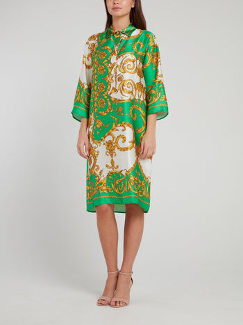 Green Baroque Print Silk Midi Dress