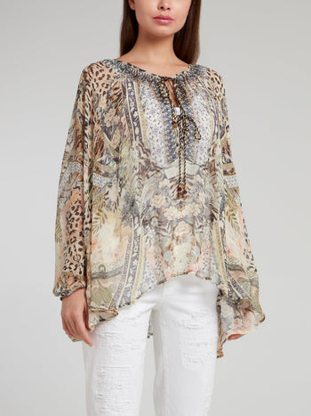 Tie Front High Low Hem Silk Blouse