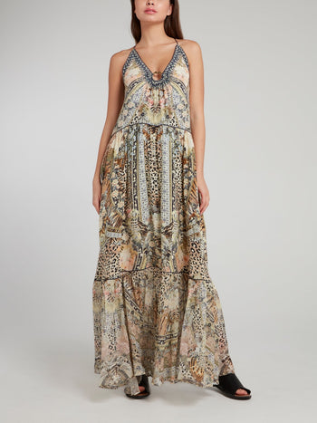 U-Ring Flared Maxi Dress