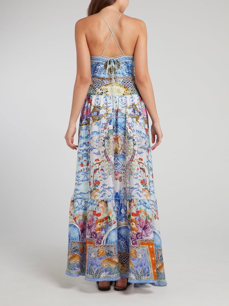 Cross Back U-Ring Silk Maxi Dress