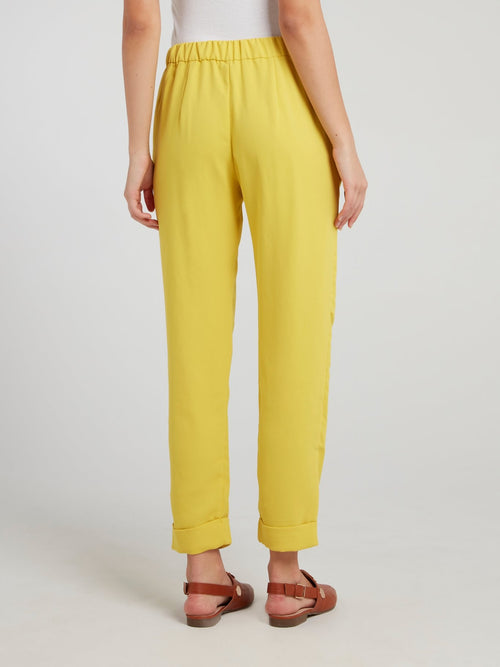 Yellow High Waist Tapered Pants