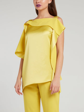 Yellow Asymmetric Satin Top