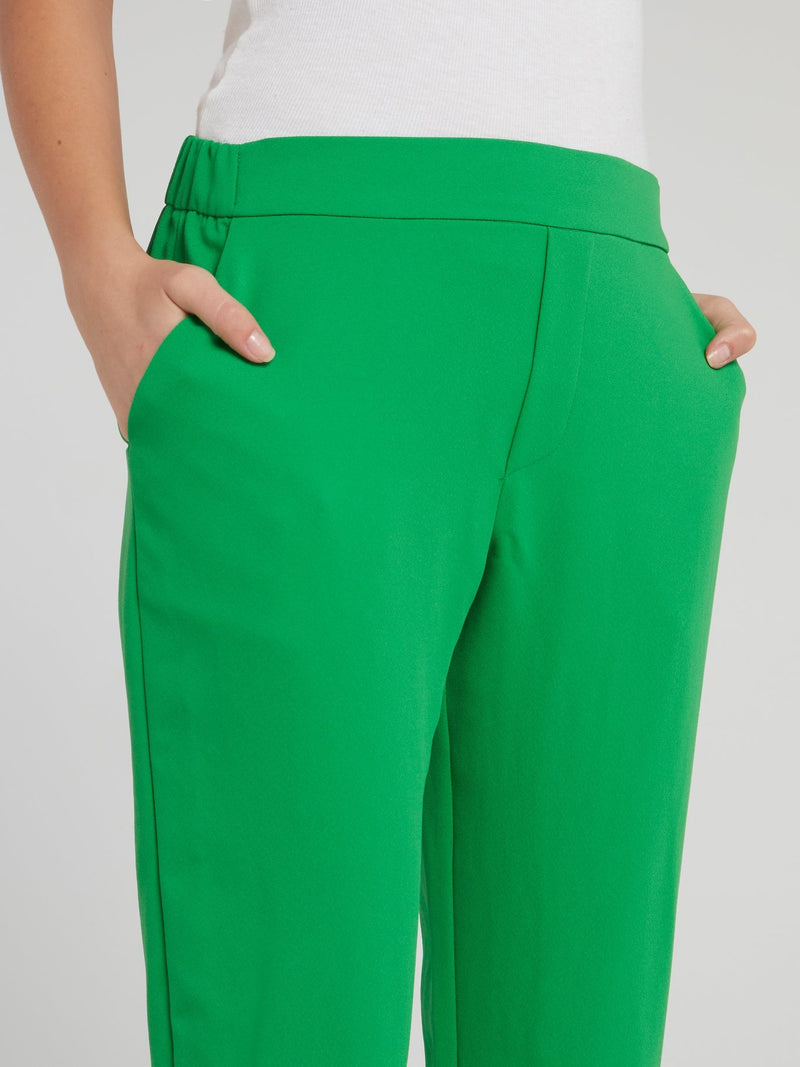 Green High Waist Tapered Pants