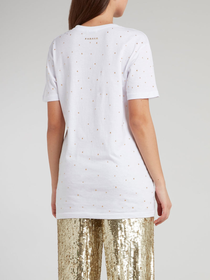 White Studded Cotton T-Shirt