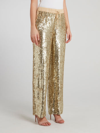 Gold Sequin Palazzo Pants