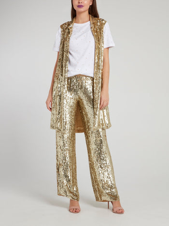 Gold Sequin Long Gilet