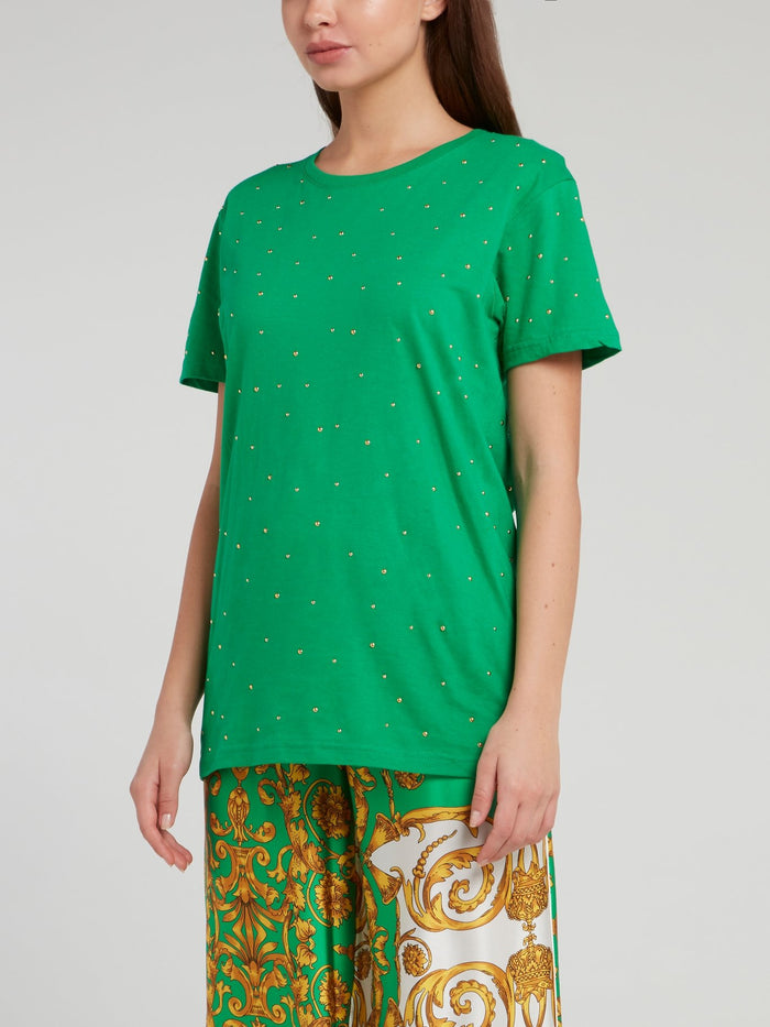 Green Studded Cotton T-Shirt
