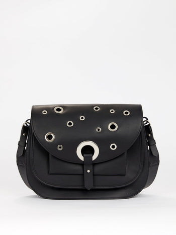 Black Ring Embellished Shoulder Bag