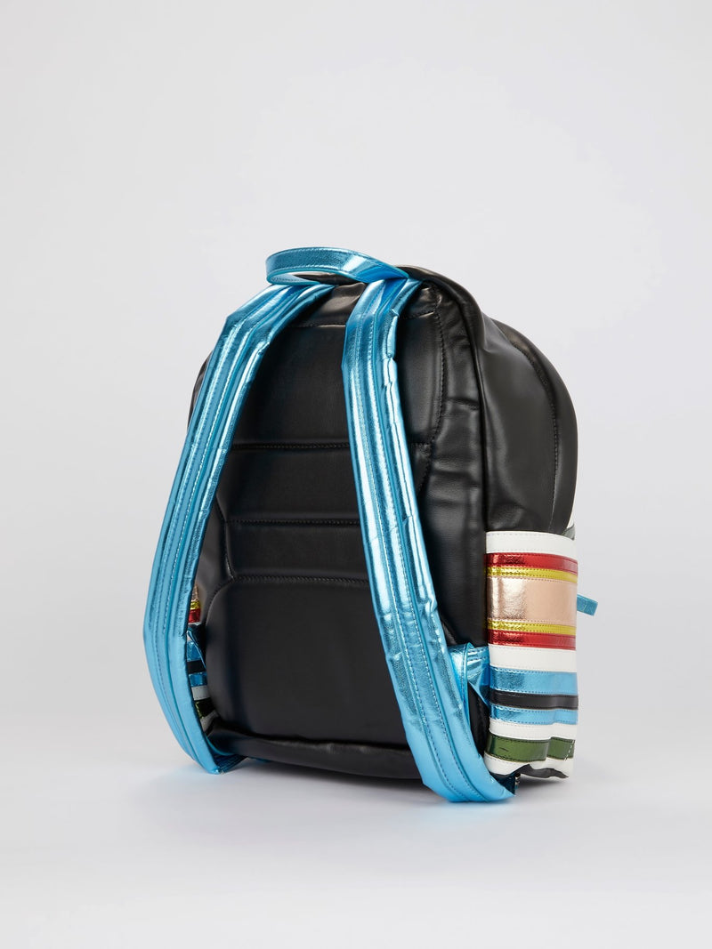 Striped Panel Leather Backpack