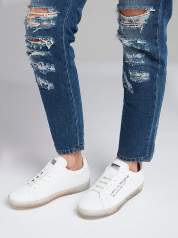 White Statement Lace Up Sneakers