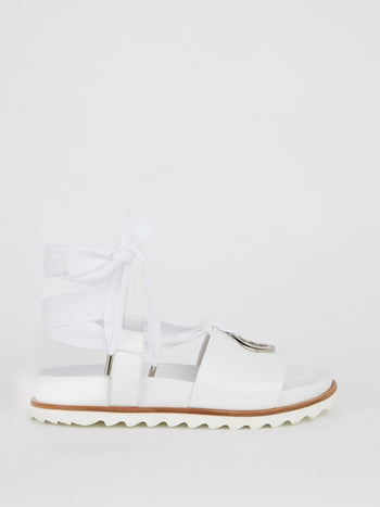 White Nappa Gladiator Sandals