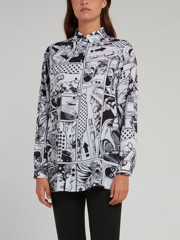 Comic Print Button Up Shirt