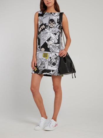 Comic Print Sleeveless Shift Dress