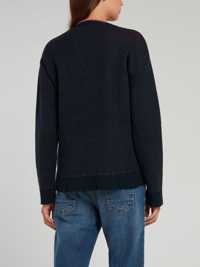 Navy V-Neck Knitted Sweater