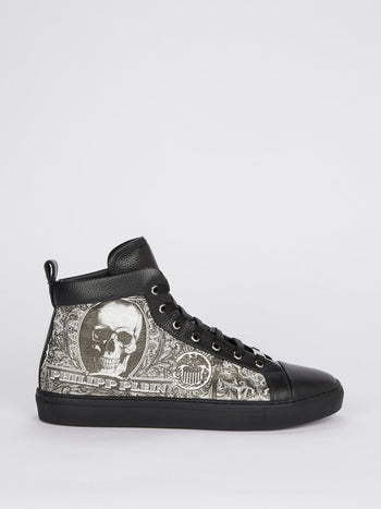 Black Dollar Skull High Top Sneakers