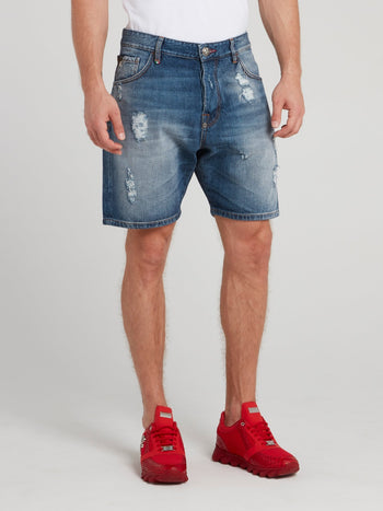 Blue Distressed Bermuda Shorts