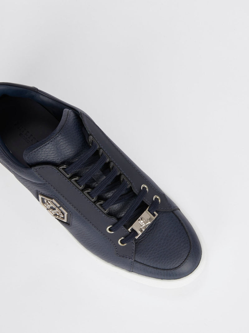 Navy Low Top Leather Sneakers