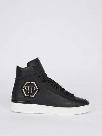 Black High Top Leather Sneakers