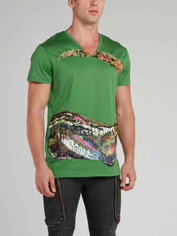 Green Crocodile Print V-Neck Shirt