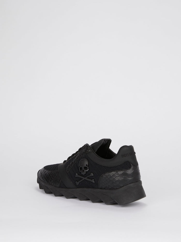 Black Crocodile Panel Mesh Sneakers