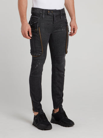 Black Oversized Pocket Cargo Denim Jeans