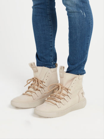 Beige High Top Logo Sneakers