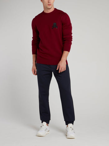 Burgundy Skull Appliquéd Sweater