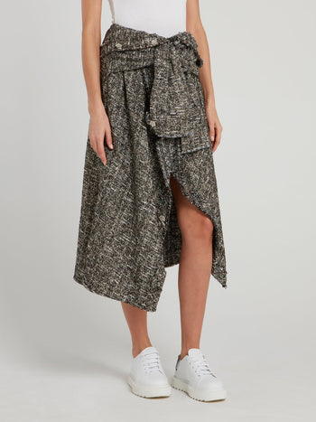 Grey Frayed Tweed Shirt Skirt