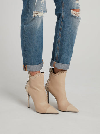 Beige Spike Studded Ankle Boots