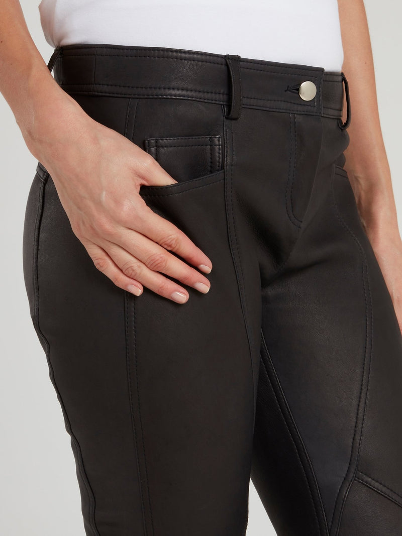 Black Leather Running Pants