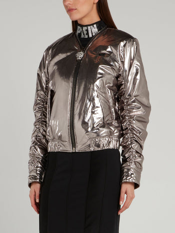 Metallic Ruched Bomber Jacket