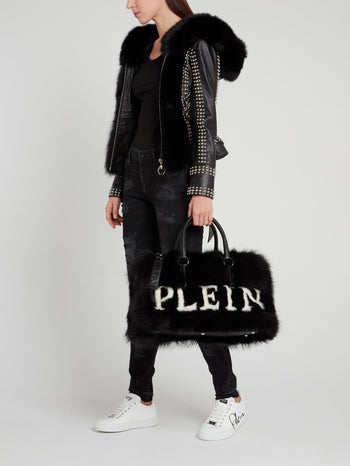 Black Fur Travel Bag