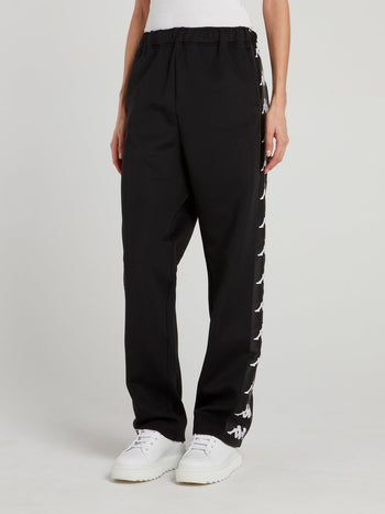 Black Kappa Interlock Jogging Pants