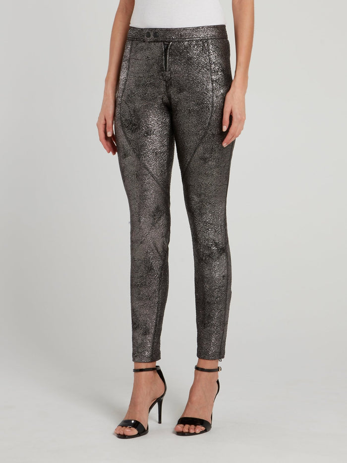 Metallic Leather Running Pants