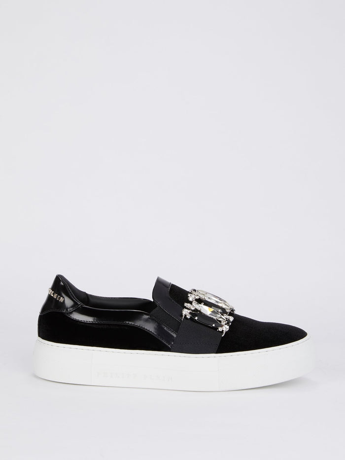 Black Crystal Embellished Slip On Sneakers