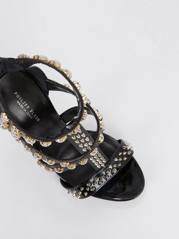 Black Heart Studded Cage Pumps