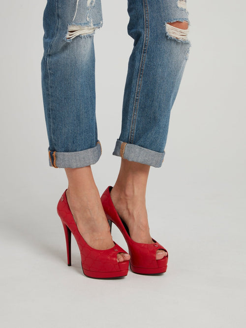 Red Heart Quilt Peep Toe Pumps