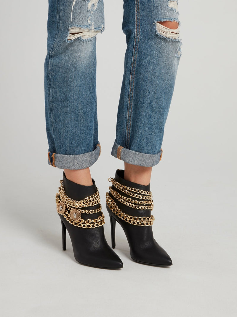 Gold Chain Embellished Ankle Boots