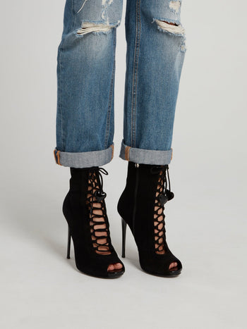 Black Suede Lace Up Ankle Boots