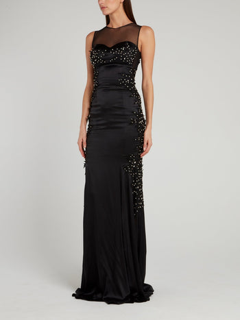 Black Illusion Neckline Embellished Evening Dress