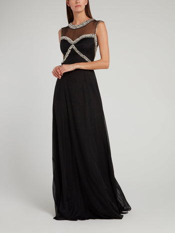 Black Crystal Studded Evening Dress