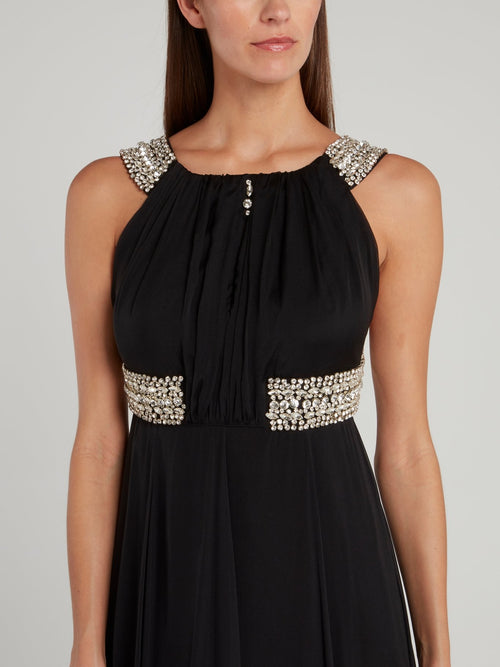 Black Crystal Studded Empire Waist Dress