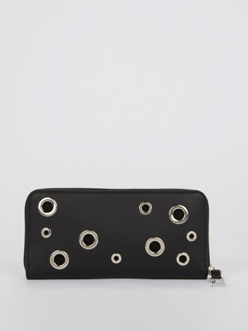 Black Embellished Two Tone Leather Wallet